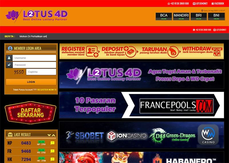 Lotus4d Situs Pasang Lotus 4d Sgp Hk Sdy Online Daftar Sekarang
